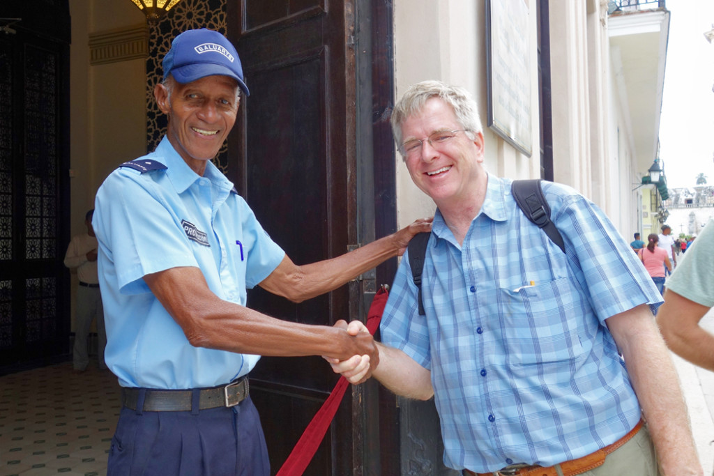 Rick Steves and security guard
