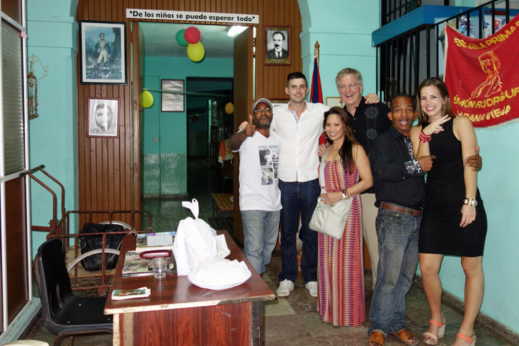 Rick Steves, family, and Cuban locals
