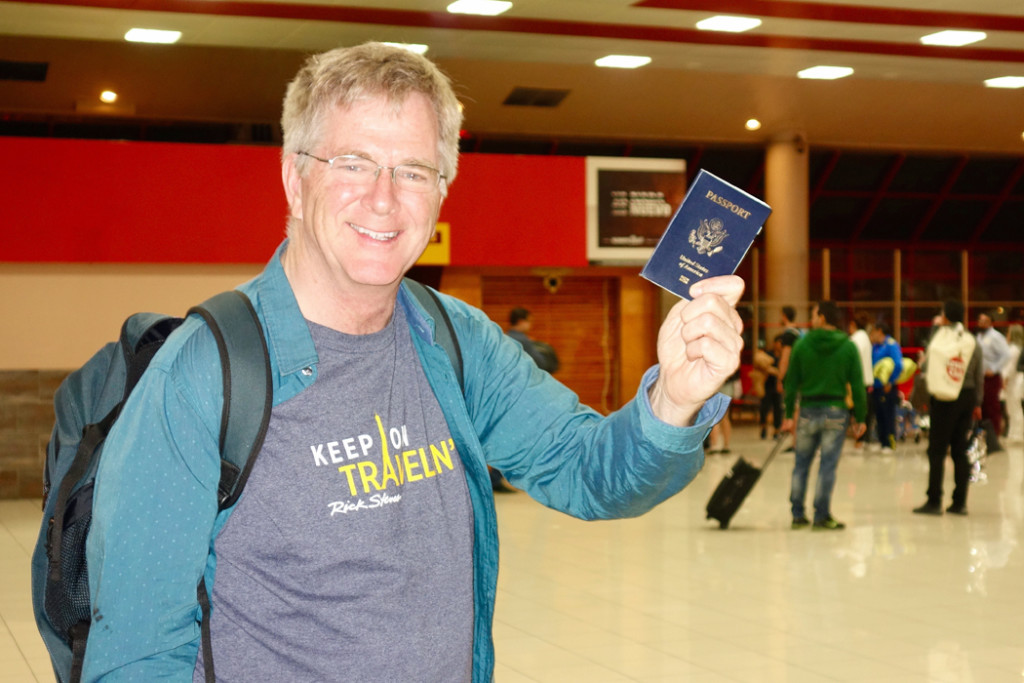 Rick Steves with passport