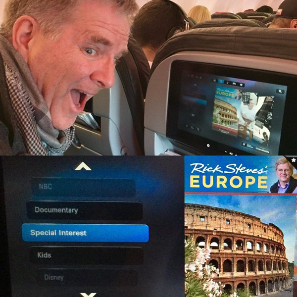 Rick Steves show on flight