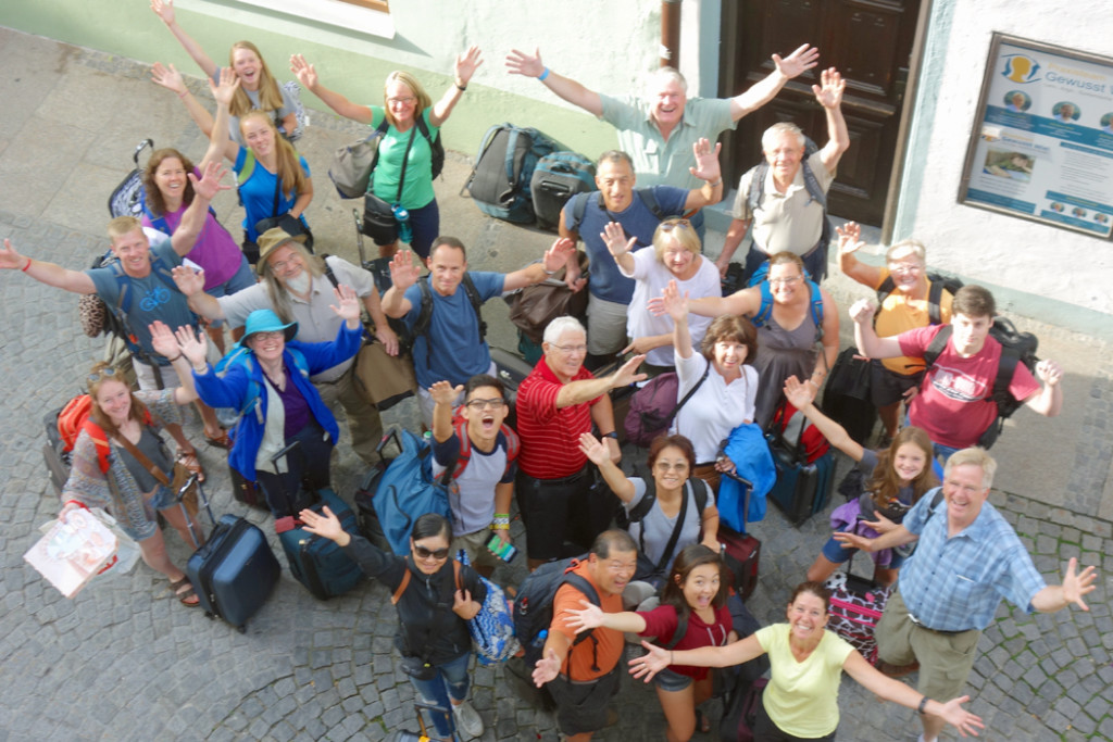 rick steves group with bags