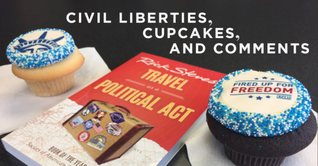 """ACLU cupcakes with """"Travel as a Political Act"""" book"""