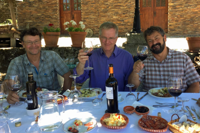 Karel Bauer, Rick Steves, Simon Griffith wine tasting
