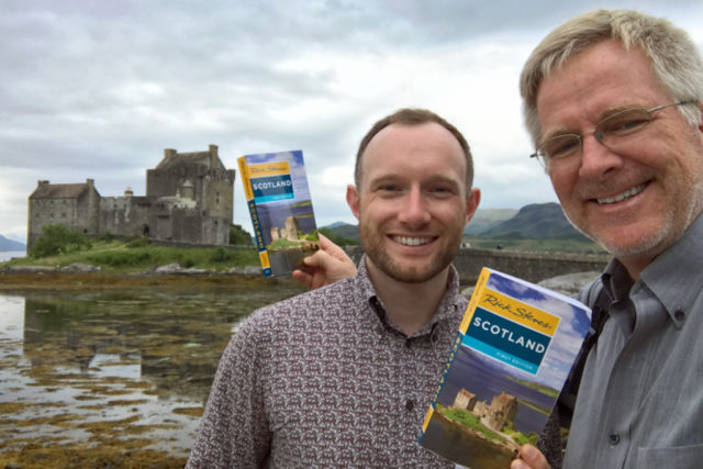 colin mairs and rick steves with books at castle