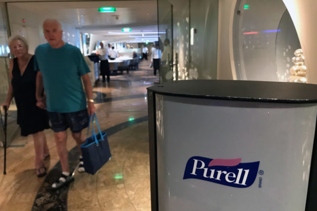 Purell dispenser in the cruise ship
