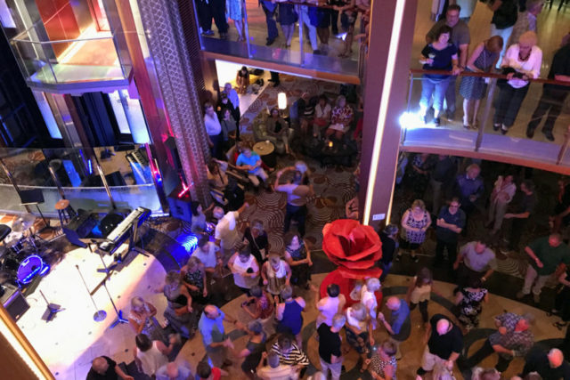 Dancing and live music on a cruise ship