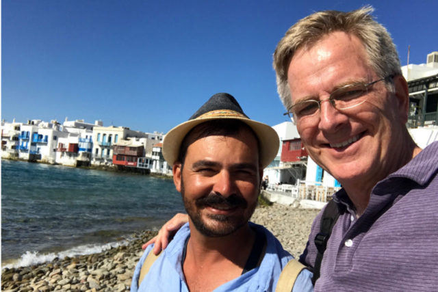 Guide Antonis Pothitos with Rick on Mykonos