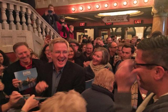 Fans surround Rick Steves