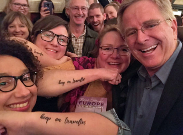 "Rick Steves fans with tattoos that say ""keep on travelin'"