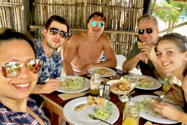 rick steves family at mexican restaurant