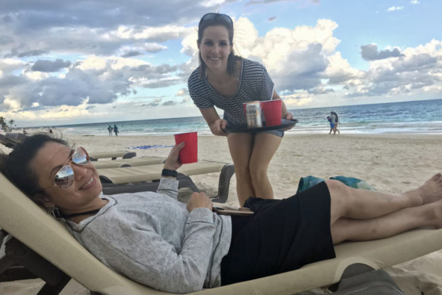 trish feaster and jackie on beach