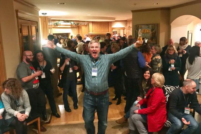 Rick Steves at party