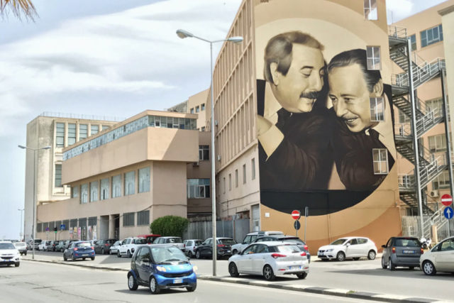 large mural on building wall of giovanni falcone and paolo borsellino