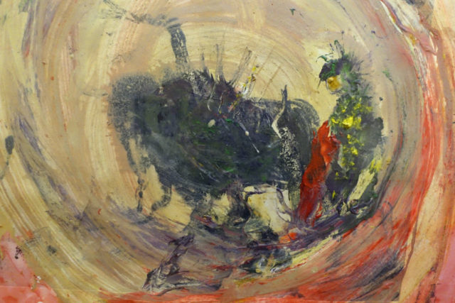 almost abstract painting of bull and bullfighter in arena