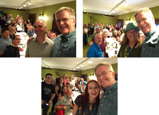 three photos of Rick Steves with three different tour guides and tour groups in the same restaurant