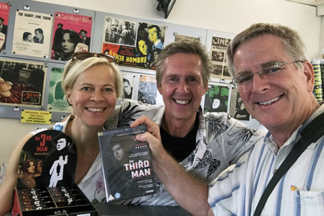 Rick Steves with Karin and Gerhard holding a Third Man book