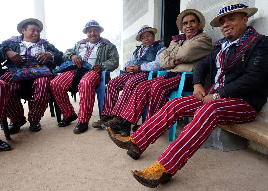 men in red striped pants in guatemala