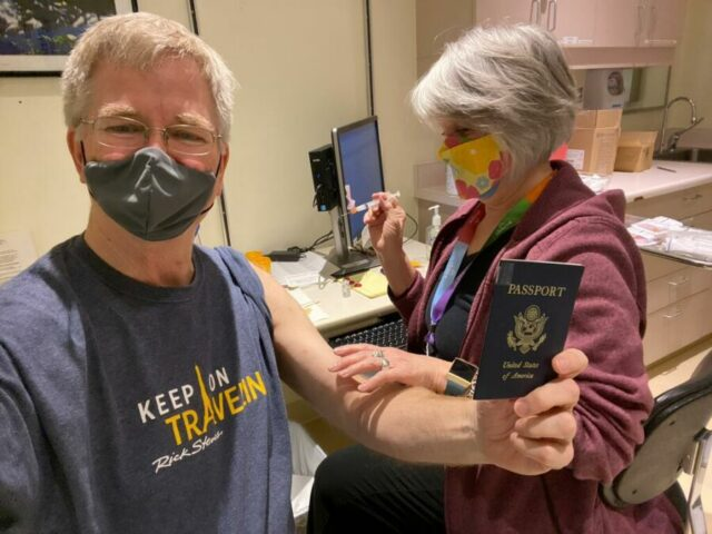 Rick Steves getting vaccinated