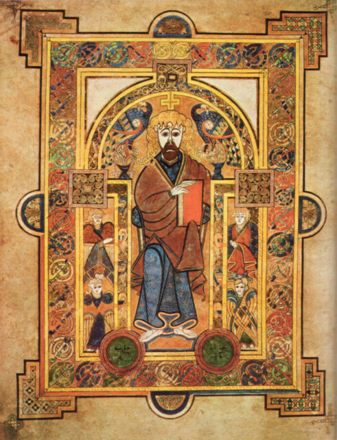 """""""Christ Enthroned,"""" from the Book of Kells."""
